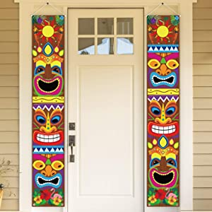 90shine Hawaiian Luau Party Decorations Tiki Banners Aloha Tropical Moana Flamingo Door Porch Signs Wall Hanging Decor Supplies
