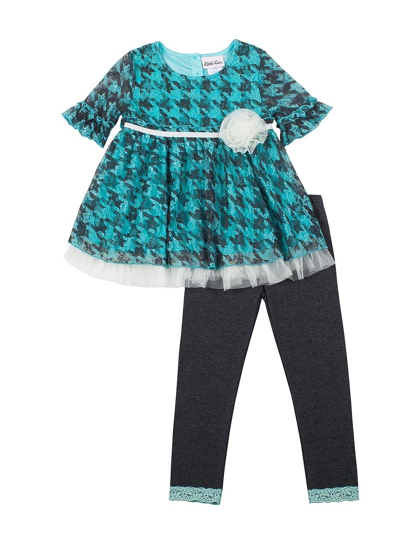 Turquoise Little Lass Toddler//Little Girls 2-Piece Lace Top Legging Set