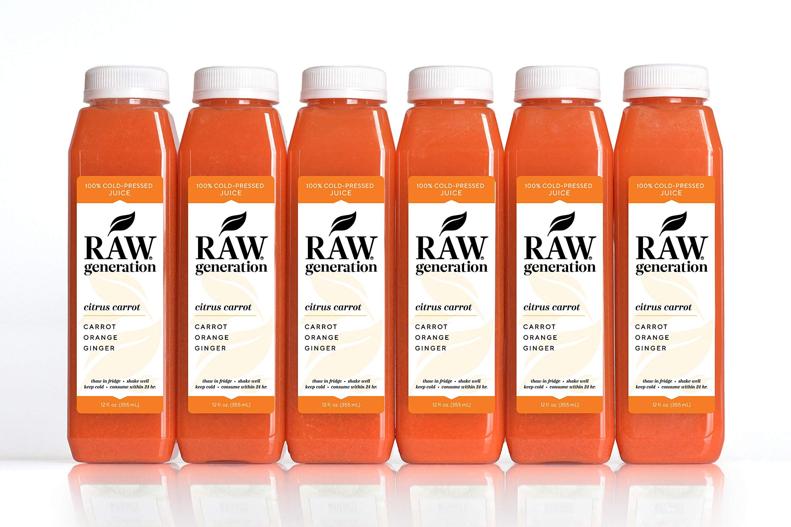 Raw Generation Citrus Carrot Juice - Get Clearer Skin/Healthiest Way to Lose Weight & Stay Strong / 18 Count