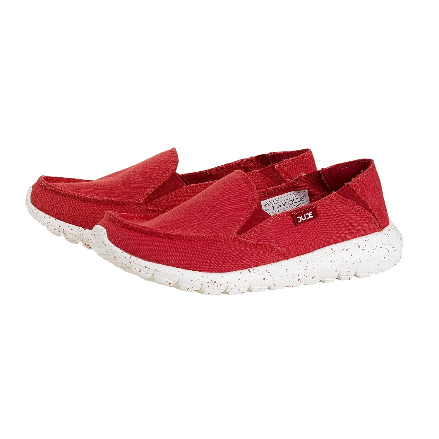 Dude Ava Coral Canvas Slip on Shoes