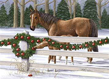 Brown Horses Eating Apples Off Wreath Barbara Gibson Box Of 18 Christmas Cards