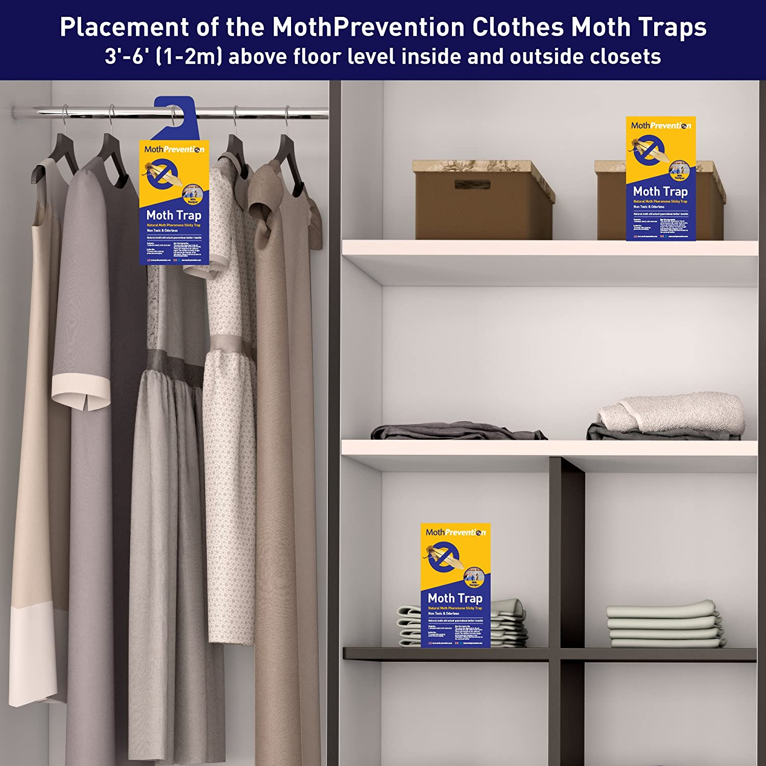 MothPrevention Clothes Moth Killer Kit Including Clothes Moth Traps and 6 Months Protection for Closet Clothing! Professional Grade
