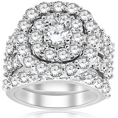Amazon Com 5 Ct Diamond Engagement Cushion Halo Trio Engagement