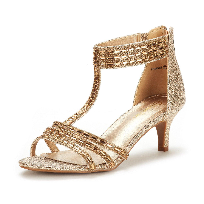 DREAM PAIRS Women's Roxanne Gold Glitter Fashion Stilettos Open Toe Pump Heel Sandals Size 9 B(M) US