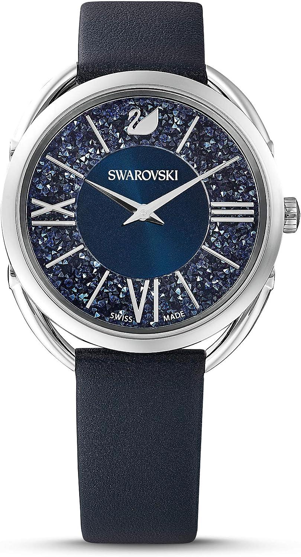 Swarovski Reloj Crystalline Glam, Correa de Piel, Azul, Acero Inoxidable