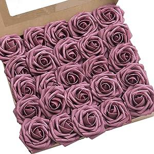 Ling's moment Roses Artificial Flowers 50pcs Realistic Mauve Roses with Stem for DIY Wedding Centerpieces Bouquets Arrangements Flower Decorations