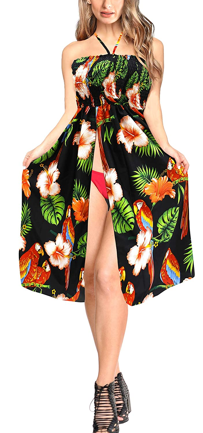 2cf8598942 Amazon.com: LA LEELA Soft Printed Beach Vacation Stretchy Top Tube Dress  Black 904 One Size: Clothing