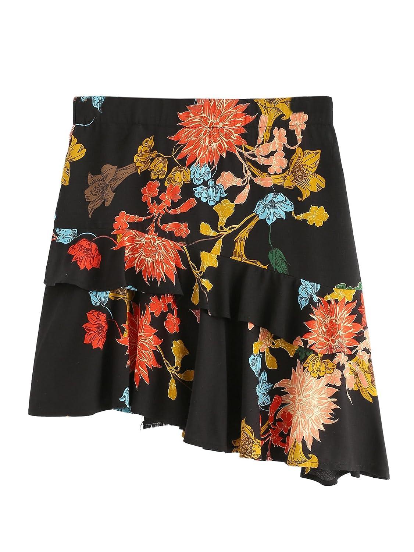 Multicolor WDIRARA Women's Mid Waist Above Knee Ruffle Trim Asymmetric Floral Skirt