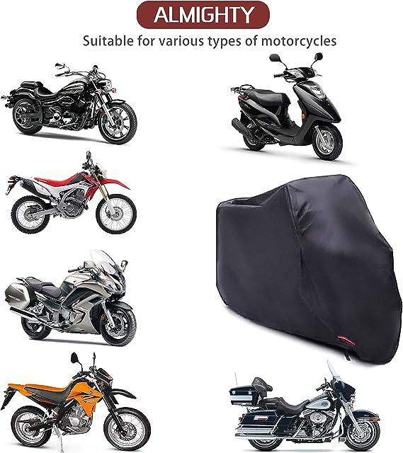 Suzuki Harley-Davidson Yamaha cm AUQUSH AQ190T Housse de Protection imperm/éable et Anti-UV avec Oxford Durable et ind/échirable pour Moto 104 Pouces comme Honda Kawasaki 190T 265105125