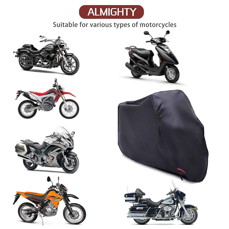 Suzuki,Harley-Davidson,Kawasaki AUQUSH AQ210D wasserdichte Motorradabdeckung Mit Oxford Haltbar und rei/ßfest f/ür 105 Zoll Motorrad wie Honda Yamaha Schwarz