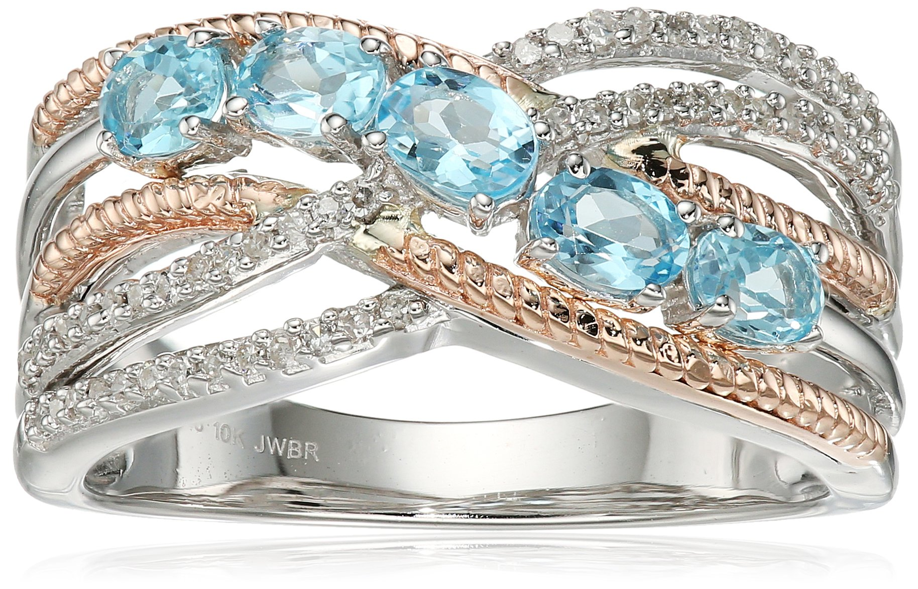 Sterling Silver and 10K Pink Gold Swiss Blue Topaz Oval Shape and White Diamond Fashion Ring, Size 8