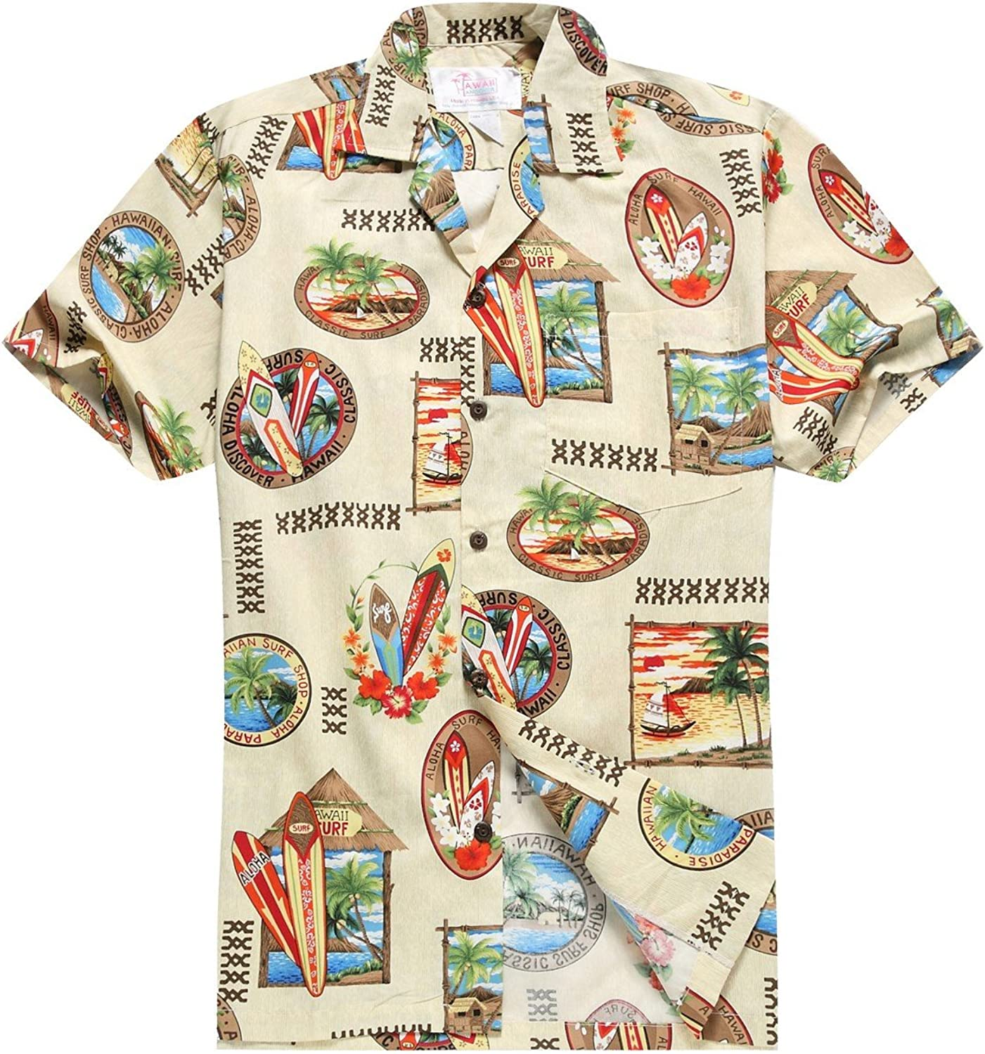 Made in Hawaii Mens Hawaiian Shirt Aloha Shirt in Surfboards and Palms in Cream