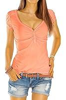 Bestyledberlin Damen T-Shirt V-Ausschnitt, Basic Top Geknöpft, Stretch Shirt Kurzarm t01p