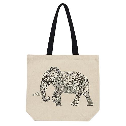Bolso Elefante Negro Tote de Lona Algodón: Amazon.es: Handmade