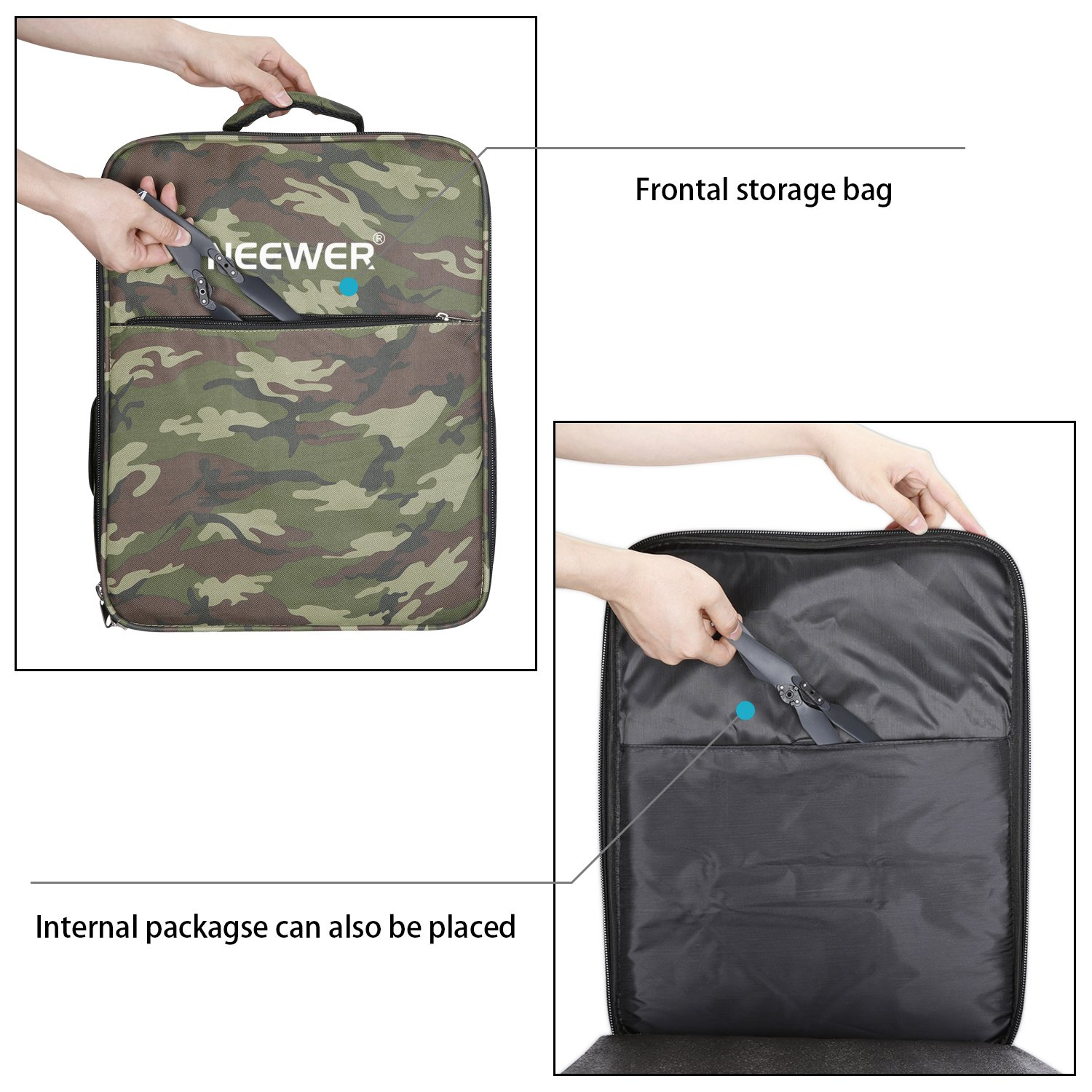 Neewer Multi-Function Waterproof Backpack Bag Case for DJI Phantom 1 FC40 2 2 Vision 2 Vision+ 3, DJI 3 Professional, Advanced, Standard, 4K Cameras and Accessories(Camouflage) by Neewer (Image #6)