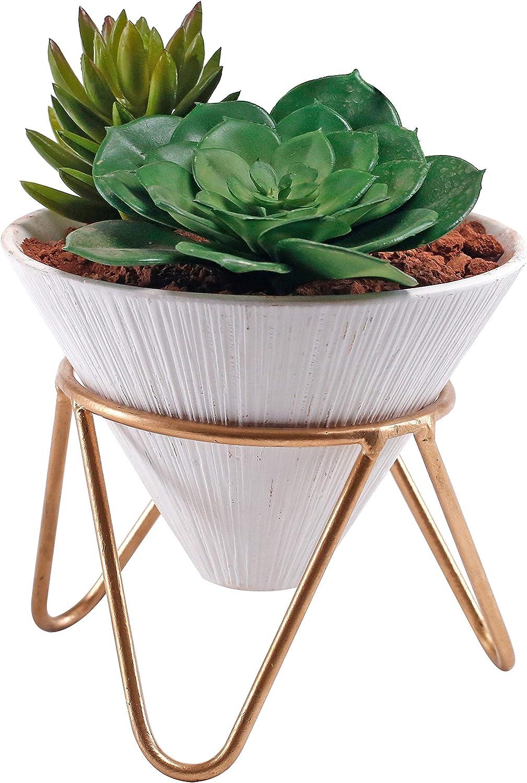 6 inch Modern Design White Ceramic Cone Shape Succulent Planter Pot with Brass Base Stand