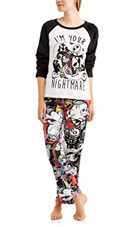 nightmare before christmas tim burtons jack skellington womens minky fleece pajama sleepwear set with santa hat