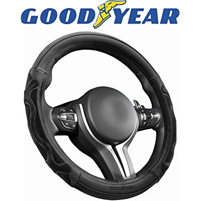 Goodyear GY1381 Black Wave Rubber Grip Steering Wheel Cover: Automotive