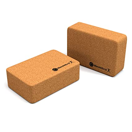 Yoga Blocks Cork 2-Pack | Support and Deepen Poses, Eco-Friendly and Sustainable Cork, Yoga Blocks. 3 in x 6 in x 9 in | Mandelbrot X