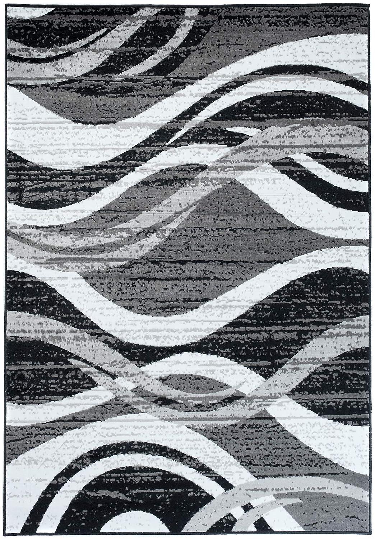 TAPISO Fire Tappeto Camera Salotto Moderno Disegno Ondato Cerchi Sfumature di Grigio Rosso Ö KOTEX 80 x 150 cm