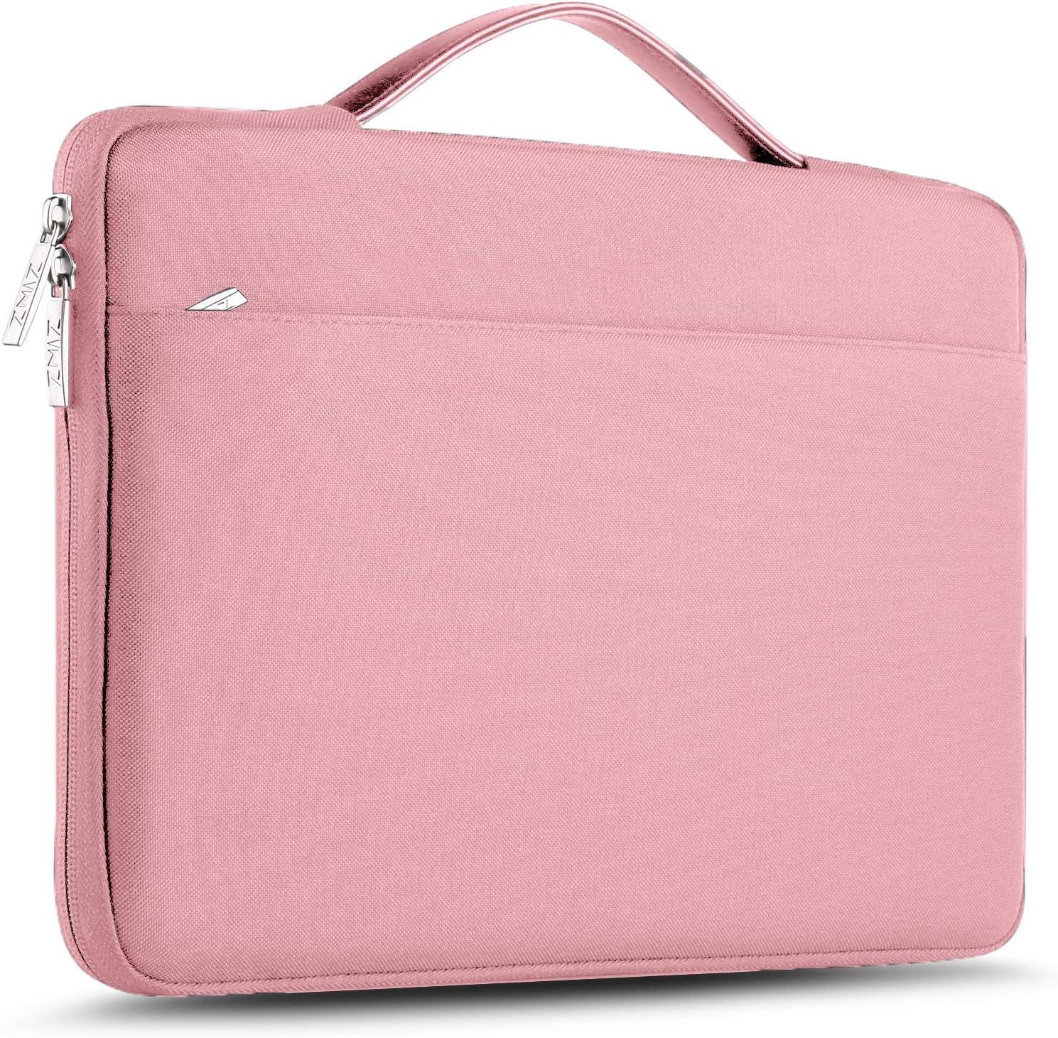 "ZINZ Laptop Sleeve 15 15.6 16 Inch Case Briefcase, Compatible MacBook Pro 16 15.4 inch, Surface Book 2/1 15"" Super Slim Spill-Resistant Handbag for Most Popular 15""-16"" Notebooks, Pink"