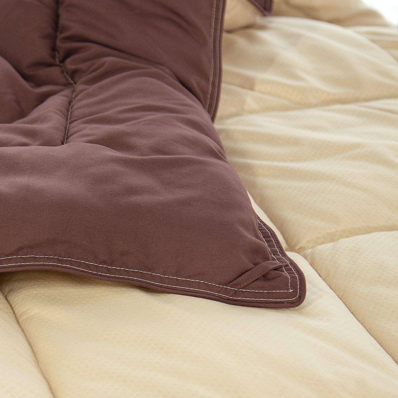 Twin Reversible Comforter Duvet Insert with Corner Ties--Quilted Down Alternative Comforter Brown/Beige 66