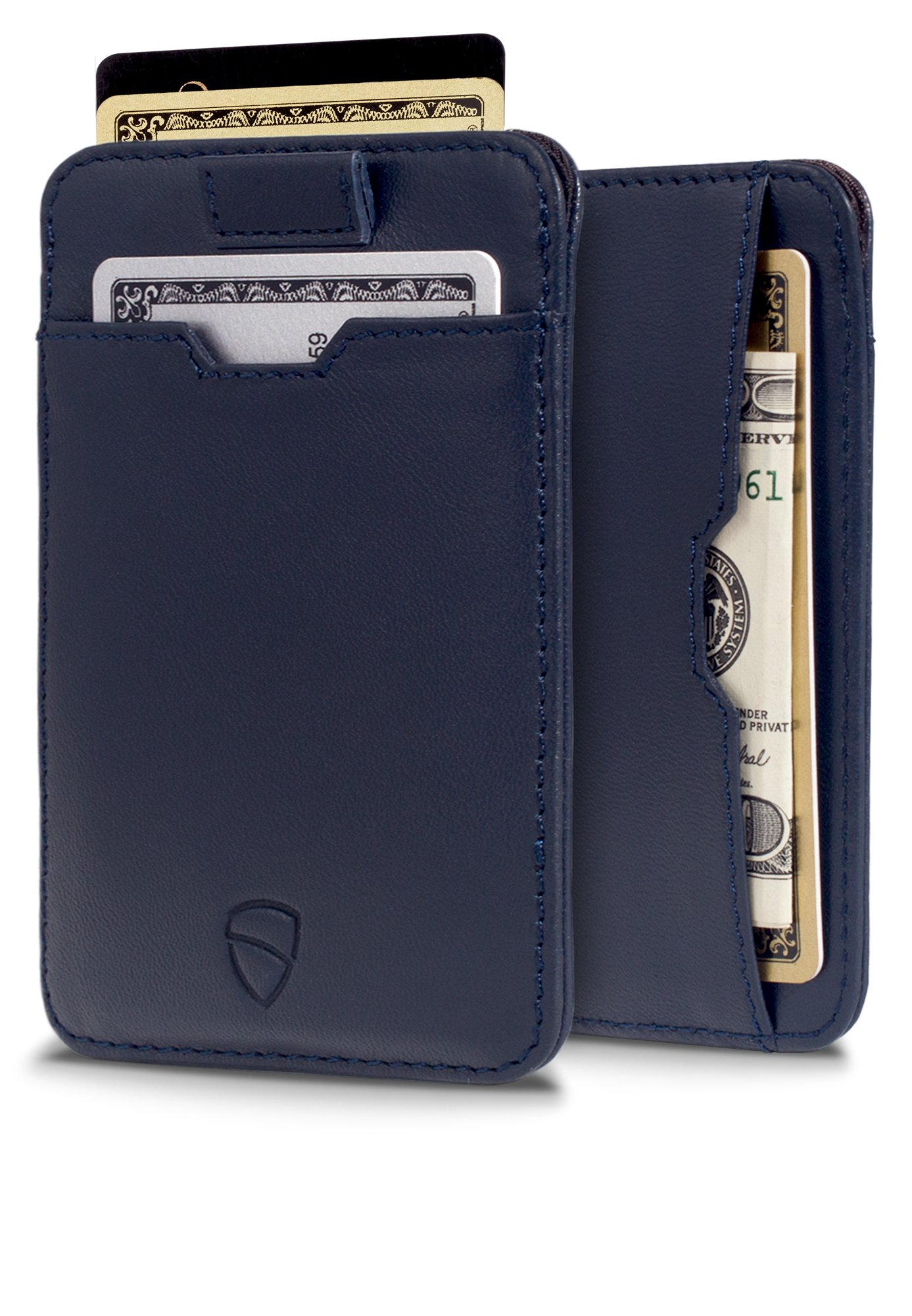 Chelsea Slim Card Sleeve Wallet with RFID Protection by Vaultskin – Top Quality Italian Leather - Ultra Thin Card Holder Design For Up To 10 Cards (Navy Blue)