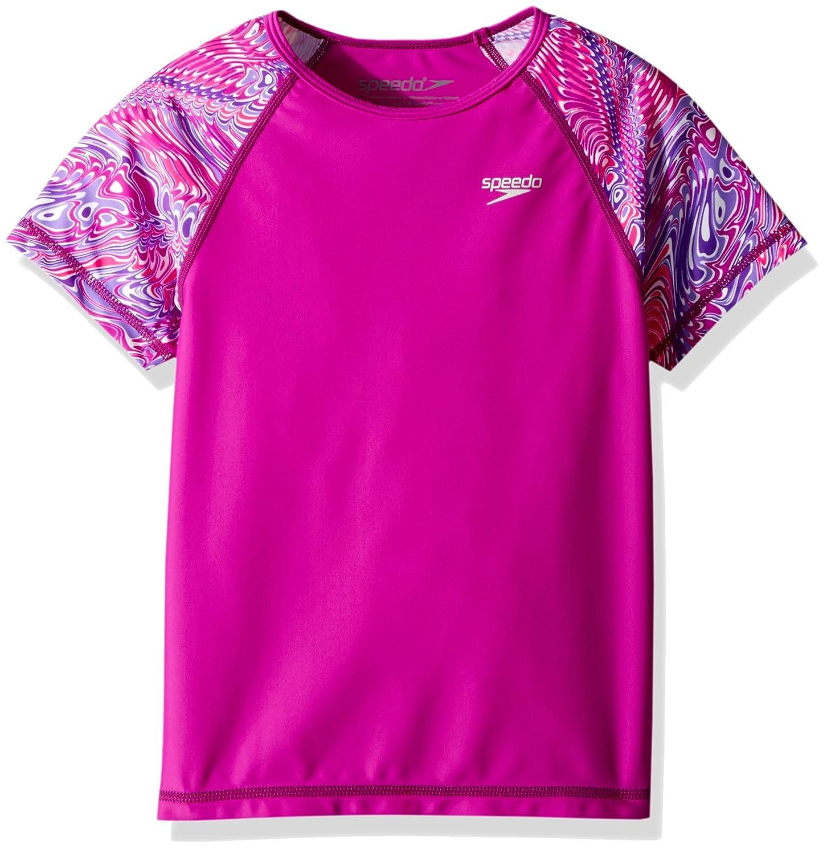 Speedo Girls Printed Short Sleeve Rash Guard Shirt