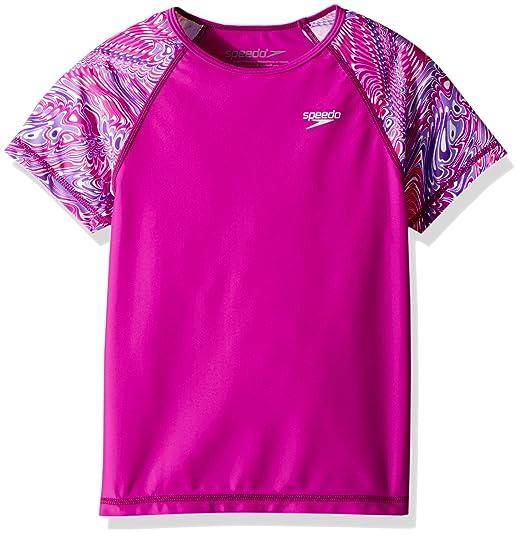 e92d9464e9 Amazon.com: Speedo Girls Printed Short Sleeve Rash Guard Shirt: Clothing