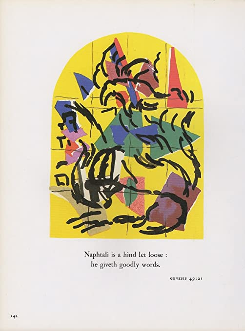 """1988 Vintage MARC CHAGALL /""""TRIBE OF NAPHTALI/"""" SMALL MODEL COLOR Print Lithograph"""