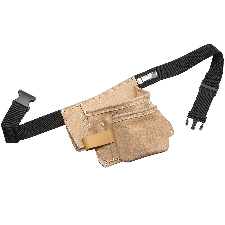 Meister Outil de ceinture 6poches ✓ composés de haute qualité cuir pleine fleur ✓ solide ✓ Durable ✓ Chrome VI sans ✓ Ceinture | Werzeug Sac à ongles | Ceinture porte-outils | Étui de ceinture avec support pour marteau | |
