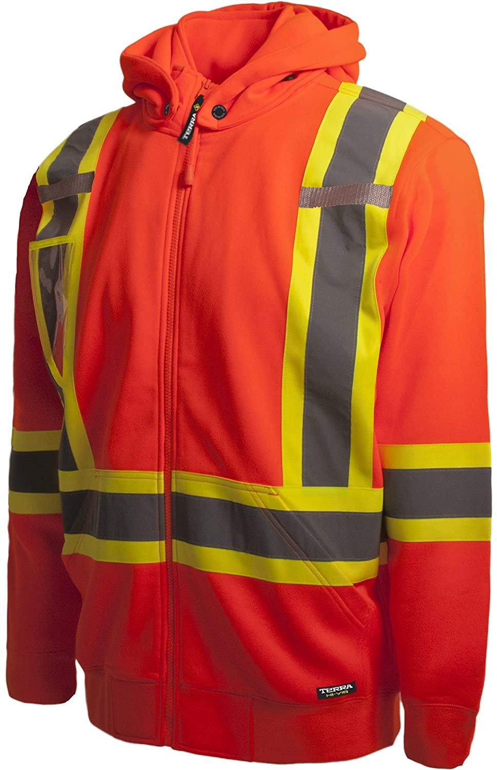 Terra 116506ORXL High-Visibility Detachable Hood Reflective Safety Hoodie X-Large BBH Orange
