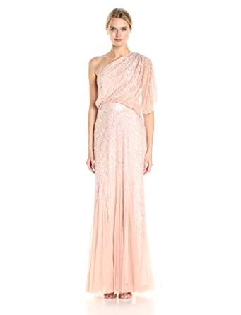 Adrianna Papell Women's One Shoulder Sequin Beaded Blouson Gown, Blush, ...