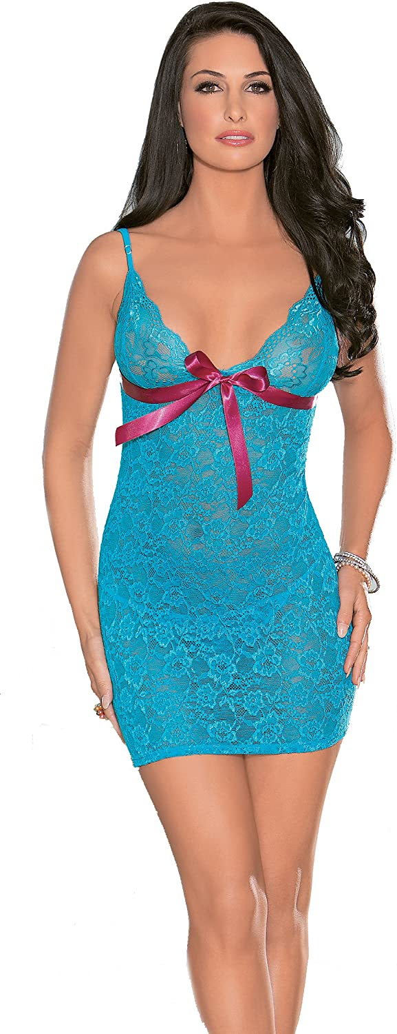 Escante Womens Floral Chemise with Ribbon Lace Up Back and Matching Lace G-String