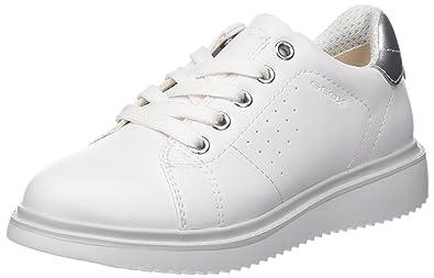 Geox J Thymar À Lacets De Chaussures Filles Derby, Blanc (blanc / Argent), 34 L'ue