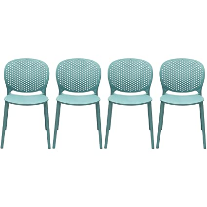 Merveilleux 2xhome Set Of 4 Blue Contemporary Modern Stackable Assembled Plastic Chair  Molded With Back Armless Side