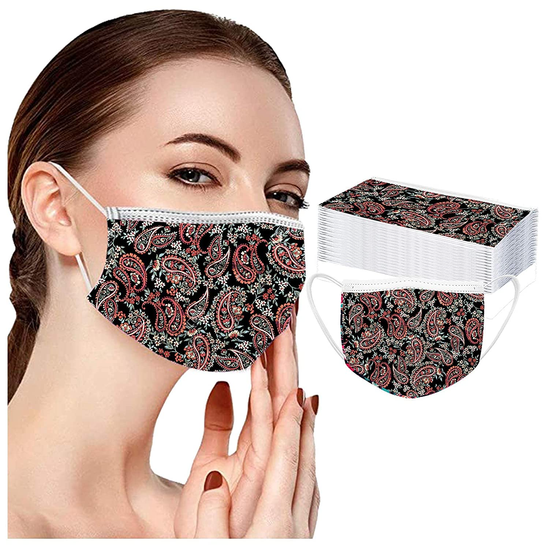 Serria-es 50 Piezas Adulto Mäscarilla antivirus de Una Sola Vez 3 Capas Monocromo Transpirables Protección Facial Personal