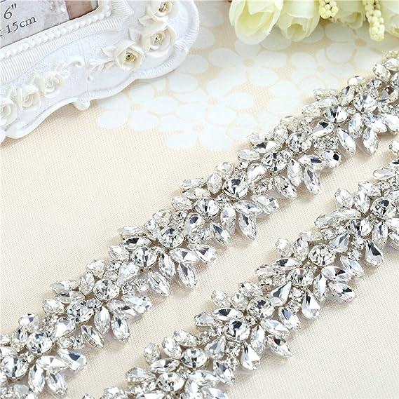 Rhinestone Applique Trim por la yarda con cristales impresionantes para el vestido de boda cinturón o vestidos (plata): Amazon.es: Hogar
