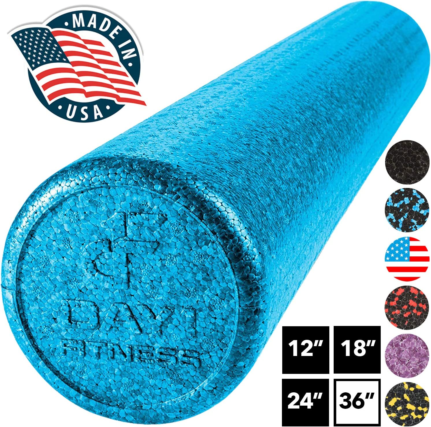 12,18,24,36 Renewed Ideal for Exercise and Pain Relief High Density Muscle Foam Rollers by Day 1 Fitness Deep Tissue and Myofascial Release Sports Massage Rollers for Stretching /& 7 Colors 4 Sizes Physical Therapy