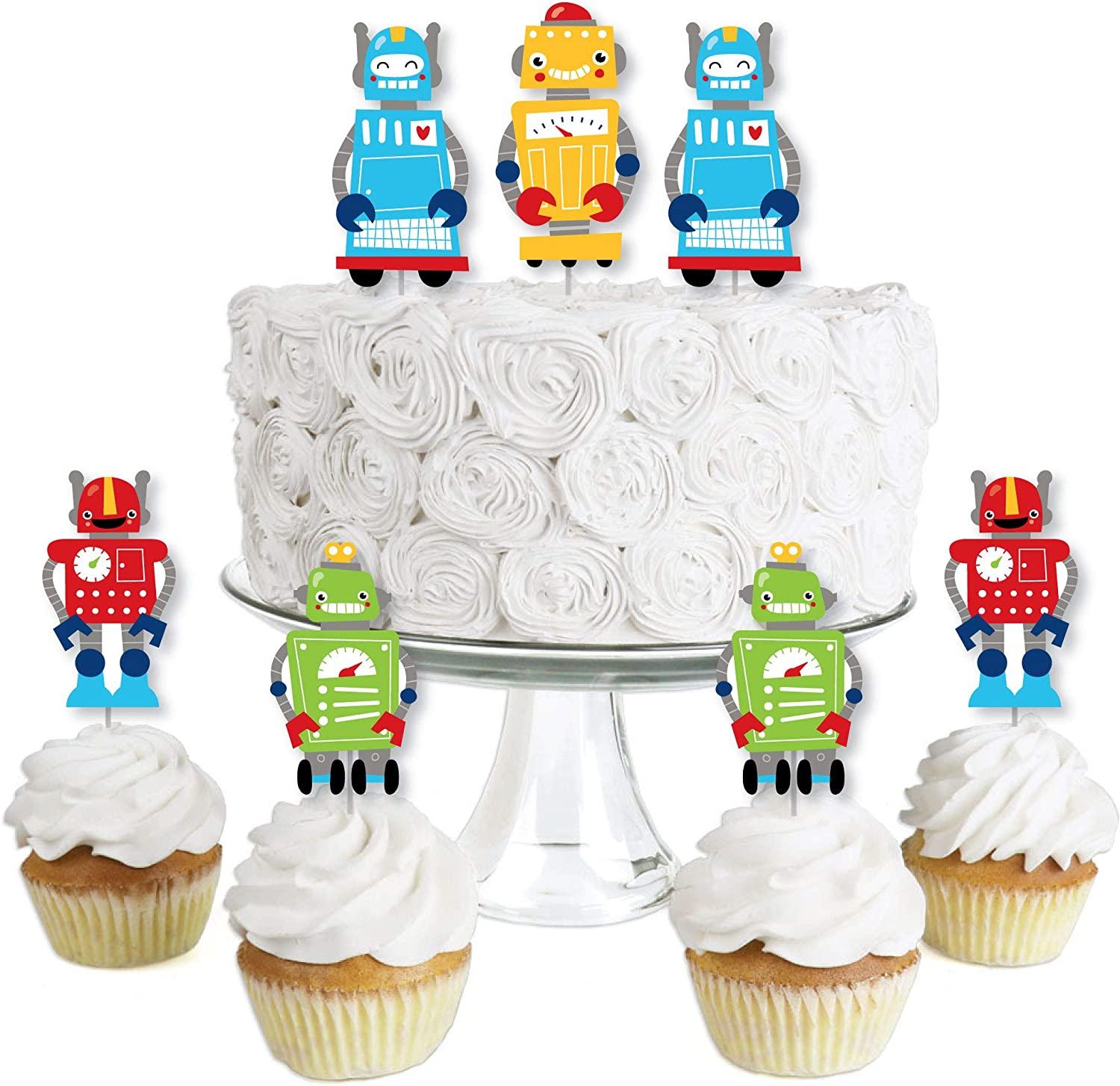 Big Dot of Happiness Gear Up Robots - Dessert Cupcake Toppers - Birthday Party or Baby Shower Clear Treat Picks - Set of 24
