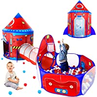 3 Piece Rocketship Kids Tent with Ball Pit for Toddler and Baby Tunnel, Spaceship Pop Up Play Tent for Boys and Girls…