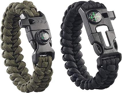 Kompass Pfeife Sos Led-Licht C# Außen Überleben Geflochten Paracord Armband W