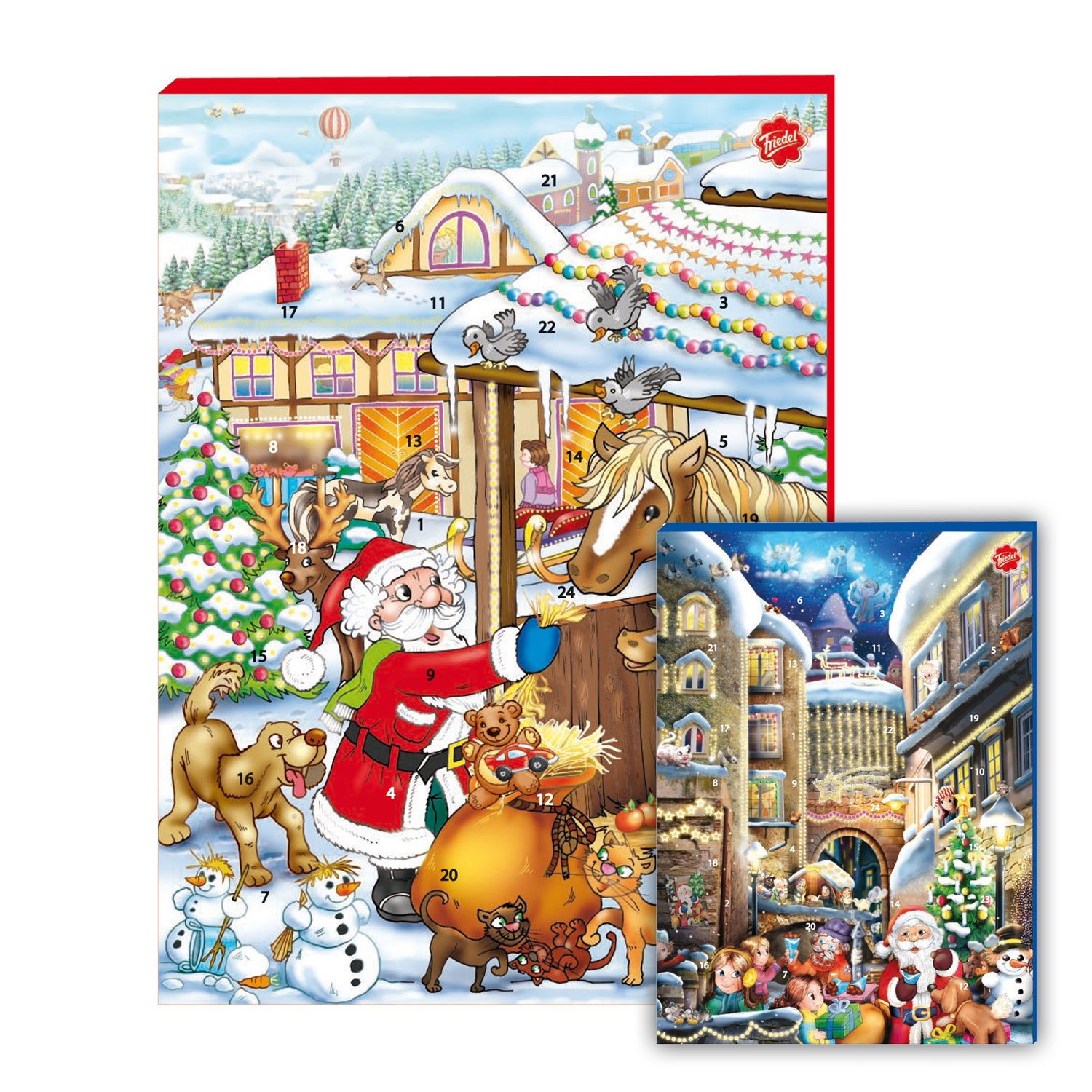 Amazon.com: Friedel Advent Calendar Advent Calendar with 24 Milk Chocolate  Figures. Incl. 3 Gift Cards to Cut on The Back. UTZ Certified.