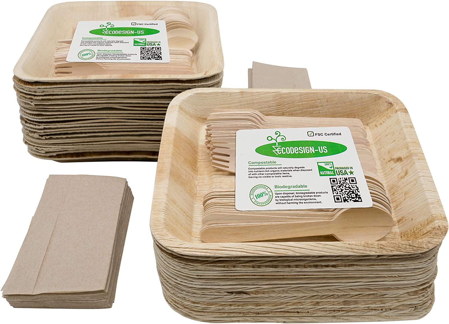 Party Holiday Pack of Eco-Friendly Disposable Dinnerware - 50 Large Deep 9.5