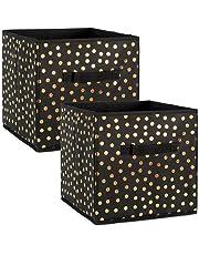 DII plegable cubeta de contenedores de almacenamiento para pequeña de lunares tela Organizadores, Cubo grande - Juego de 2, Dots Gold on Black, 1, 1