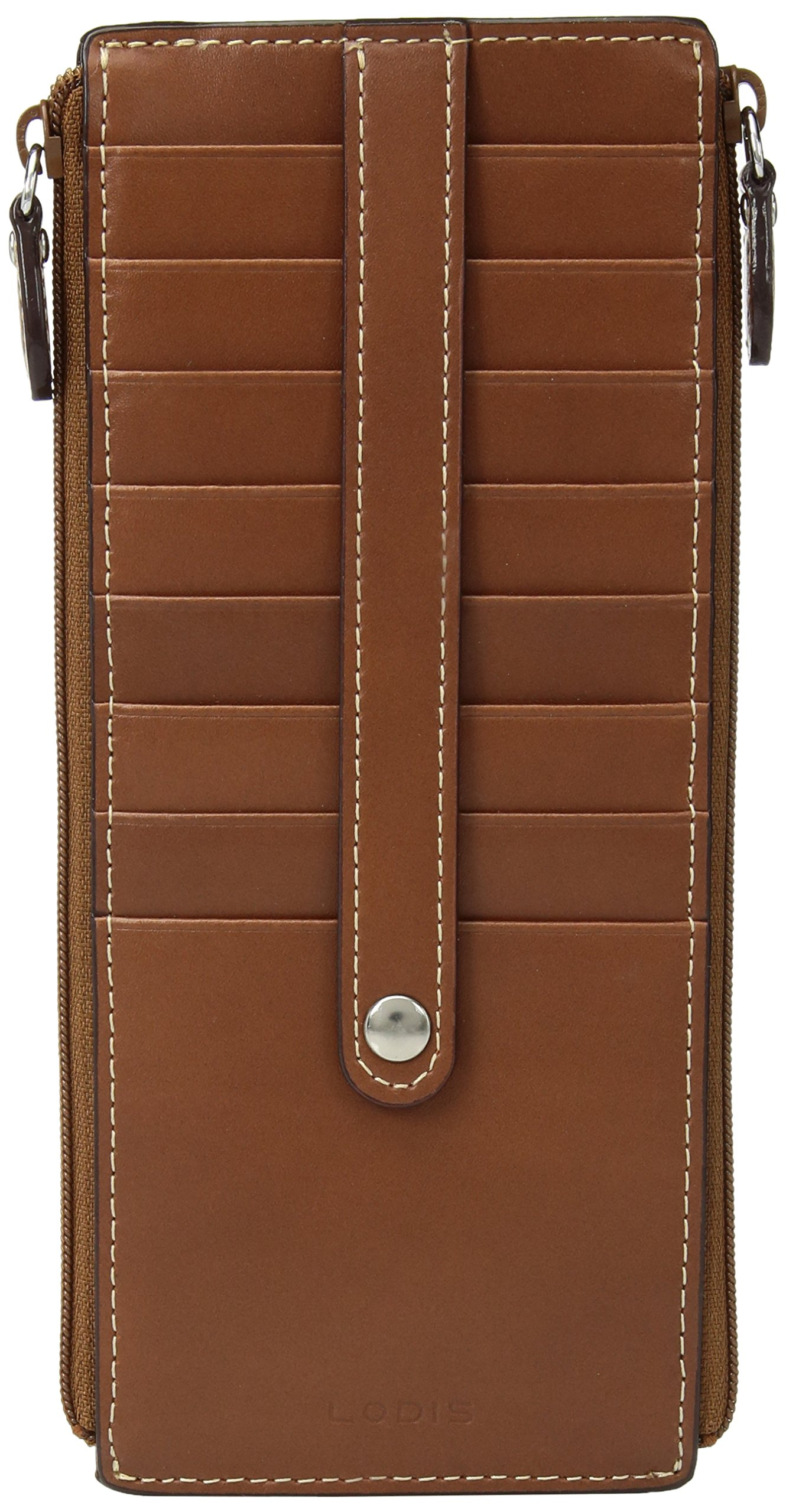 Lodis Audrey RFID Joan Double Zip Card Case, sequoia/papaya