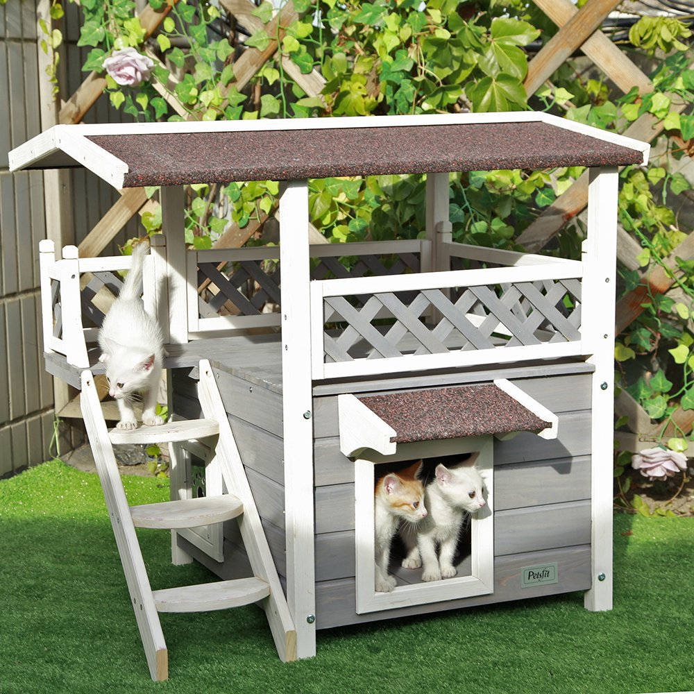 Petsfit 2-Story Outdoor Weatherproof Cat House with Stairs, 1-Year Warranty by Petsfit