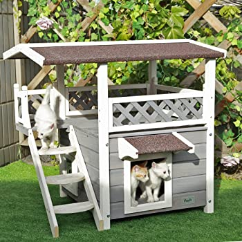 Petsfit 2-Story Outdoor Weatherproof Cat House/Condo/Shelter with Stair