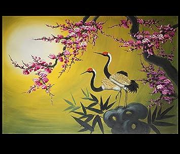 Asian Painting, Asian Wall Art, Asian Artwork, Crane Oil Painting 126