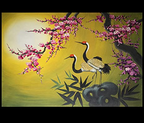 Exceptionnel Asian Painting, Asian Wall Art, Asian Artwork, Crane Oil Painting 126